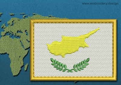 This Flag of Cyprus Rectangle with a Gold border design was digitized and embroidered by www.embroidery.design.