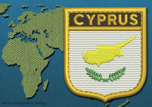 This Flag of Cyprus Shield with a Gold border design was digitized and embroidered by www.embroidery.design.