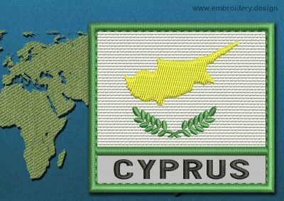 This Flag of Cyprus Text with a Colour Coded border design was digitized and embroidered by www.embroidery.design.