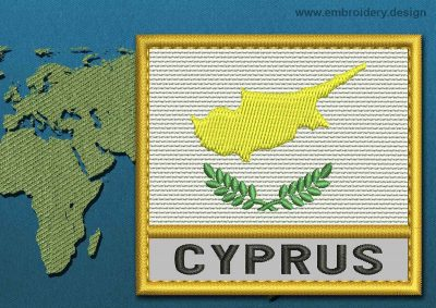 This Flag of Cyprus Text with a Gold border design was digitized and embroidered by www.embroidery.design.