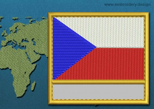This Flag of Czech Republic Customizable Text  with a Gold border design was digitized and embroidered by www.embroidery.design.