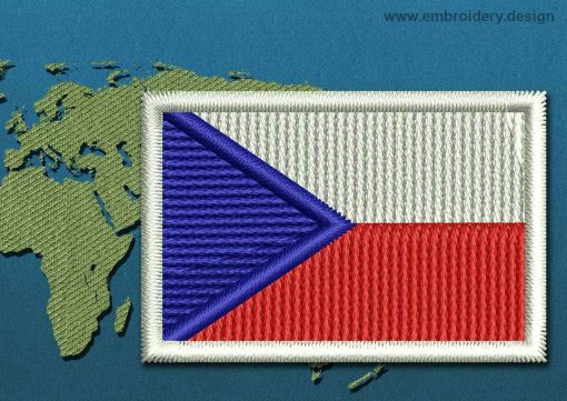 This Flag of Czech Republic Mini with a Colour Coded border design was digitized and embroidered by www.embroidery.design.