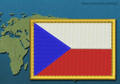 This Flag of Czech Republic Rectangle with a Gold border design was digitized and embroidered by www.embroidery.design.