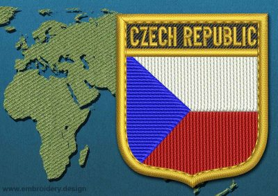 This Flag of Czech Republic Shield with a Gold border design was digitized and embroidered by www.embroidery.design.