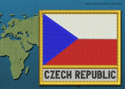 This Flag of Czech Republic Text with a Gold border design was digitized and embroidered by www.embroidery.design.