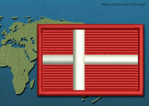 This Flag of Denmark Mini with a Colour Coded border design was digitized and embroidered by www.embroidery.design.