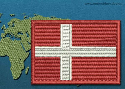 This Flag of Denmark Rectangle with a Colour Coded border design was digitized and embroidered by www.embroidery.design.