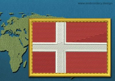 This Flag of Denmark Rectangle with a Gold border design was digitized and embroidered by www.embroidery.design.