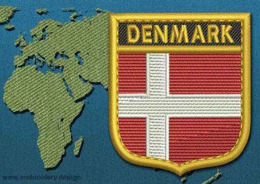 This Flag of Denmark Shield with a Gold border design was digitized and embroidered by www.embroidery.design.