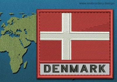 This Flag of Denmark Text with a Colour Coded border design was digitized and embroidered by www.embroidery.design.