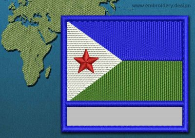 This Flag of Djibouti Customizable Text  with a Colour Coded border design was digitized and embroidered by www.embroidery.design.