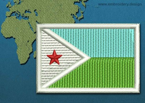 This Flag of Djibouti Mini with a Colour Coded border design was digitized and embroidered by www.embroidery.design.