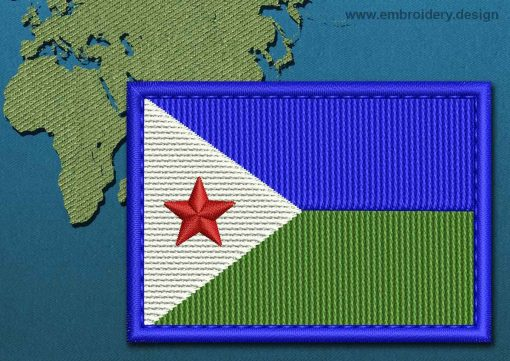 This Flag of Djibouti Rectangle with a Colour Coded border design was digitized and embroidered by www.embroidery.design.