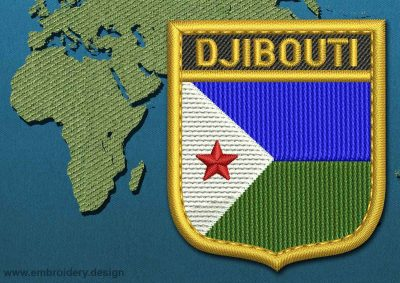 This Flag of Djibouti Shield with a Gold border design was digitized and embroidered by www.embroidery.design.