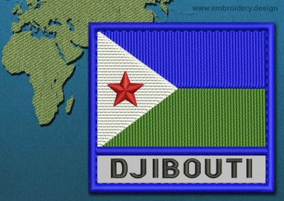 This Flag of Djibouti Text with a Colour Coded border design was digitized and embroidered by www.embroidery.design.