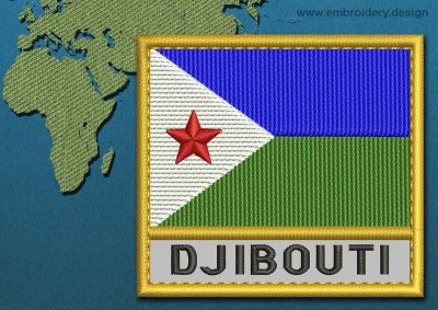 This Flag of Djibouti Text with a Gold border design was digitized and embroidered by www.embroidery.design.