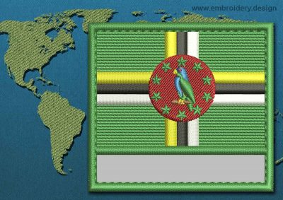This Flag of Dominica Customizable Text  with a Colour Coded border design was digitized and embroidered by www.embroidery.design.