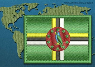 This Flag of Dominica Rectangle with a Colour Coded border design was digitized and embroidered by www.embroidery.design.