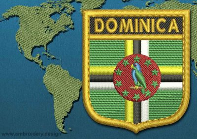This Flag of Dominica Shield with a Gold border design was digitized and embroidered by www.embroidery.design.