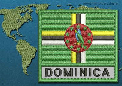 This Flag of Dominica Text with a Colour Coded border design was digitized and embroidered by www.embroidery.design.