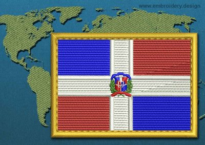 This Flag of Dominican Republic Rectangle with a Gold border design was digitized and embroidered by www.embroidery.design.