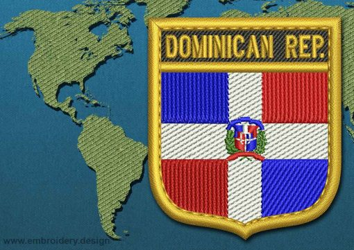 This Flag of Dominican Republic Shield with a Gold border design was digitized and embroidered by www.embroidery.design.