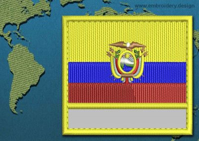 This Flag of Ecuador Customizable Text  with a Colour Coded border design was digitized and embroidered by www.embroidery.design.