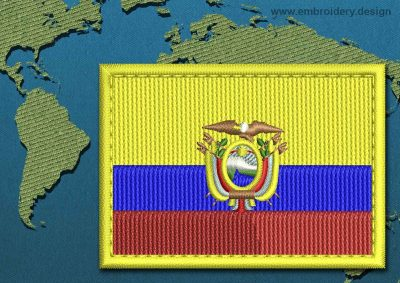 This Flag of Ecuador Rectangle with a Colour Coded border design was digitized and embroidered by www.embroidery.design.