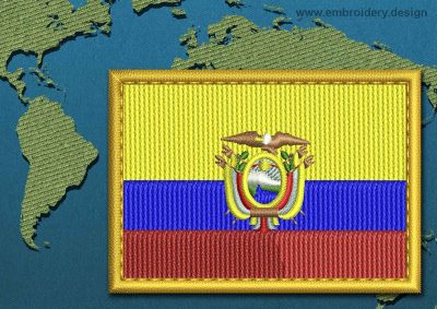 This Flag of Ecuador Rectangle with a Gold border design was digitized and embroidered by www.embroidery.design.