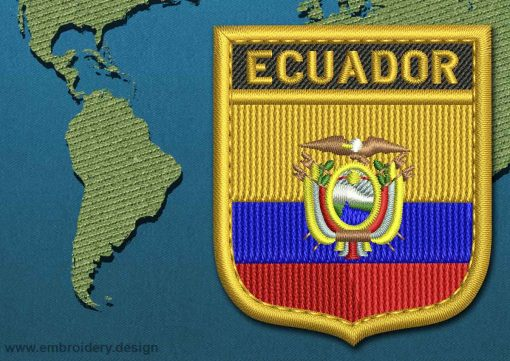 This Flag of Ecuador Shield with a Gold border design was digitized and embroidered by www.embroidery.design.
