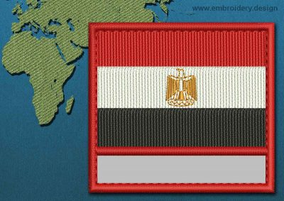 This Flag of Egypt Customizable Text  with a Colour Coded border design was digitized and embroidered by www.embroidery.design.