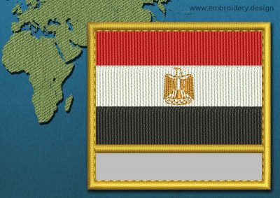 This Flag of Egypt Customizable Text  with a Gold border design was digitized and embroidered by www.embroidery.design.