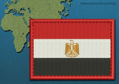 This Flag of Egypt Rectangle with a Colour Coded border design was digitized and embroidered by www.embroidery.design.