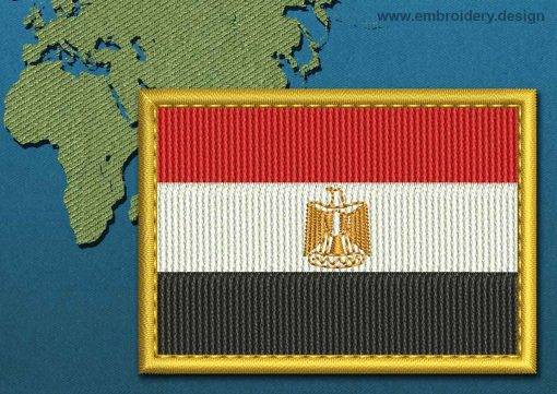 This Flag of Egypt Rectangle with a Gold border design was digitized and embroidered by www.embroidery.design.