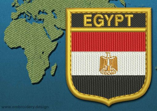 This Flag of Egypt Shield with a Gold border design was digitized and embroidered by www.embroidery.design.