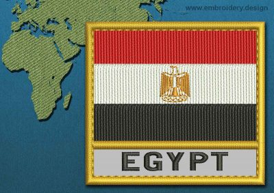 This Flag of Egypt Text with a Gold border design was digitized and embroidered by www.embroidery.design.