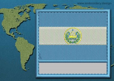 This Flag of El Salvador Customizable Text  with a Colour Coded border design was digitized and embroidered by www.embroidery.design.