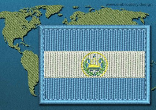 This Flag of El Salvador Rectangle with a Colour Coded border design was digitized and embroidered by www.embroidery.design.