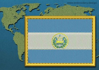 This Flag of El Salvador Rectangle with a Gold border design was digitized and embroidered by www.embroidery.design.