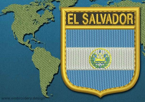 This Flag of El Salvador Shield with a Gold border design was digitized and embroidered by www.embroidery.design.