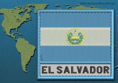 This Flag of El Salvador Text with a Colour Coded border design was digitized and embroidered by www.embroidery.design.