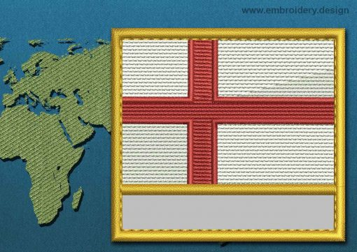 This Flag of England Customizable Text  with a Gold border design was digitized and embroidered by www.embroidery.design.