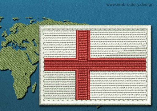 This Flag of England Rectangle with a Colour Coded border design was digitized and embroidered by www.embroidery.design.