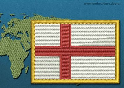This Flag of England Rectangle with a Gold border design was digitized and embroidered by www.embroidery.design.