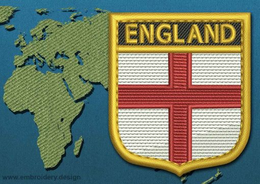 This Flag of England Shield with a Gold border design was digitized and embroidered by www.embroidery.design.