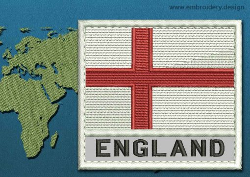 This Flag of England Text with a Colour Coded border design was digitized and embroidered by www.embroidery.design.