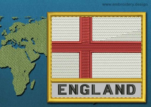 This Flag of England Text with a Gold border design was digitized and embroidered by www.embroidery.design.