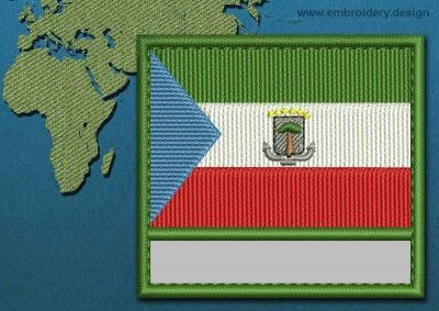 This Flag of Equatorial Guinea Customizable Text  with a Colour Coded border design was digitized and embroidered by www.embroidery.design.