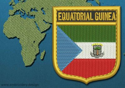 This Flag of Equatorial Guinea Shield with a Gold border design was digitized and embroidered by www.embroidery.design.