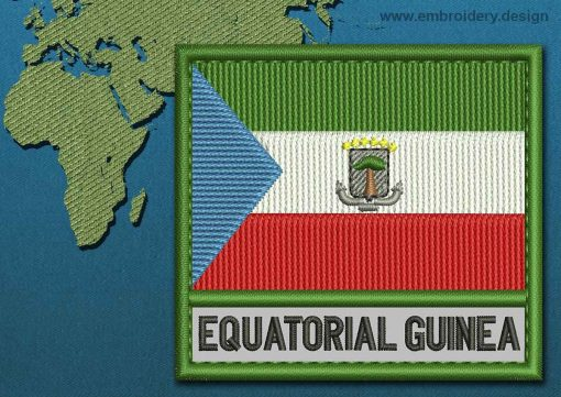 This Flag of Equatorial Guinea Text with a Colour Coded border design was digitized and embroidered by www.embroidery.design.